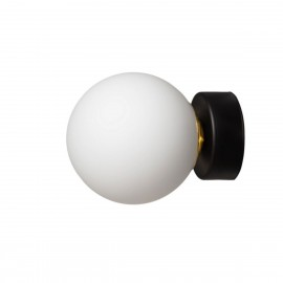Wall lamp, plafond ASTRA KINKIET lampshade white sphere black details KASPA