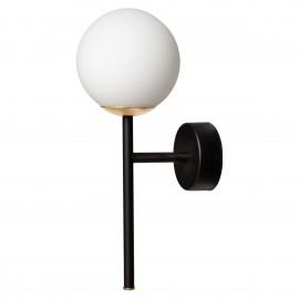 Wall lamp, sconce ASTRA DECO KINKIET white sphere lampshade details black KASPA