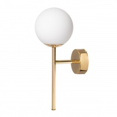 Wall lamp, sconce MIJA DECO KINKIET white sphere lampshade details gold KASPA