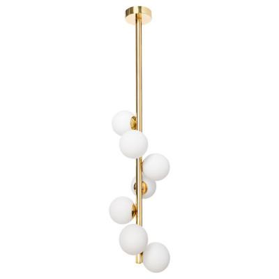 Gold ceiling lamp CUMULUS VERTICAL 3 gold chandelier - seven white glass balls KASPA