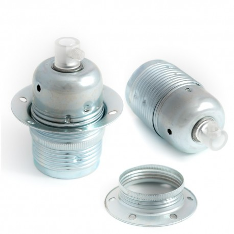 Metal lamp holder E27 in zinc color with ring