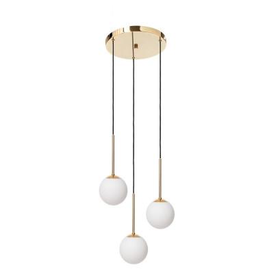 Złota lampa wisząca LAMIA PLAFON 3 trzy klosze kule białe detale złote czarny przewód KASPA