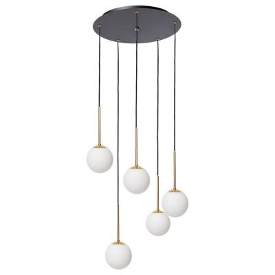 Lampa wisząca LAMIA PLAFON 5 pięć kloszy kule białe detale złote czarny przewód KASPA