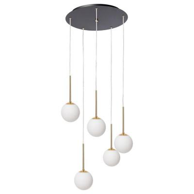 Lampa wisząca LAMIA PLAFON 5 pięć kloszy kule białe detale złote transparentny przewód KASPA