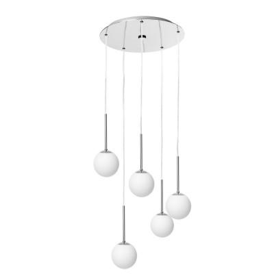 Lampa wisząca LAMIA PLAFON 5 pięć kloszy kule białe detale chrom transparentny przewód KASPA