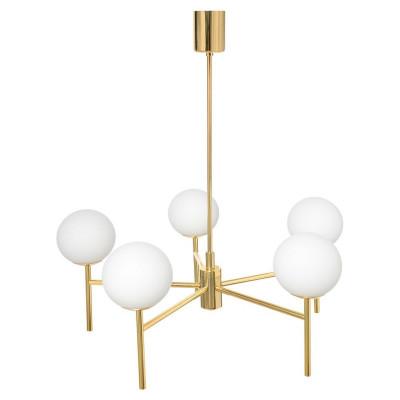 Złota lampa przysufitowa AERO żyrandol pięć kloszy kule białe detale złote KASPA