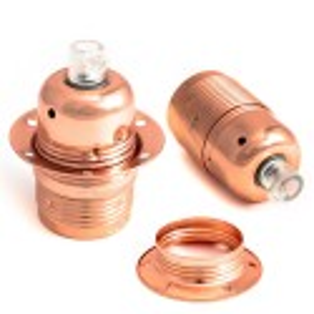 Oprawka metalowa E27 w kolorze miedzi z pierścieniem Kolorowe Kable