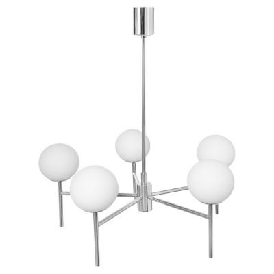 Srebrna lampa przysufitowa AERO żyrandol pięć kloszy kule białe detale chrom KASPA