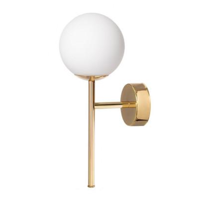 Lampa ścienna, kinkiet AERO KINKIET klosz kula biały detale złote KASPA