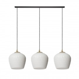 Hanging lamp VENUS LISTWA 3 three white lampshades golden details black cable KASPA
