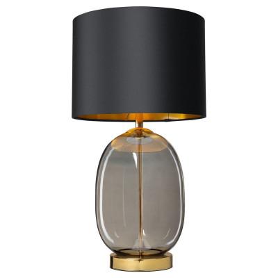 Lampa stojąca SALVADOR lampa na stolik abażur czarny szklana podstawa dymna detale złote KASPA