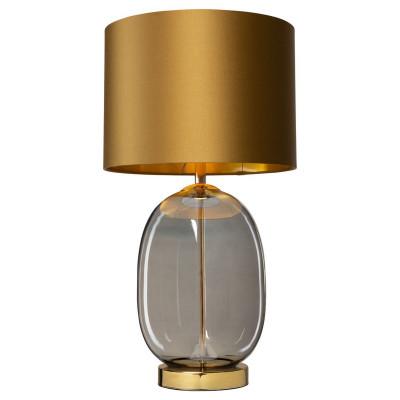 Lampa stojąca SALVADOR lampa na stolik abażur złoty szklana podstawa dymna detale złote KASPA
