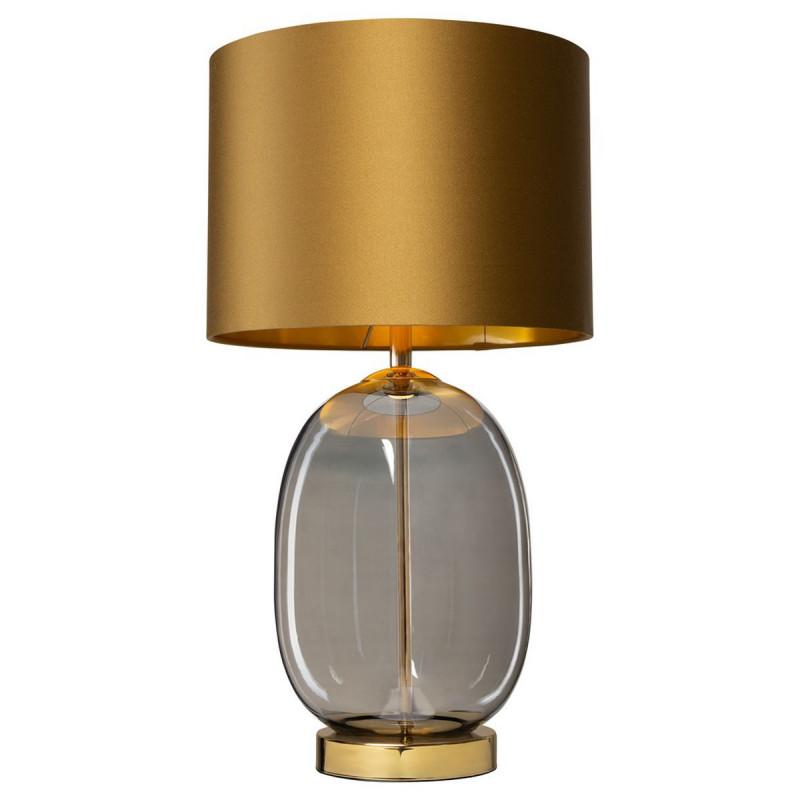 Standing lamp SALVADOR table lamp lampshade golden glass base smoke golden details KASPA
