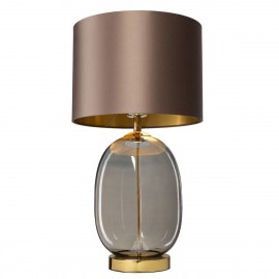 Lampa stojąca SALVADOR lampa na stolik abażur ciemny beż szklana podstawa dymna detale złote KASPA