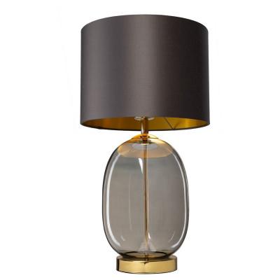 Lampa stojąca SALVADOR lampa na stolik grafitowy szklana podstawa dymna detale złote KASPA