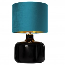 Standing lamp LORA table lamp marine velor lampshade inside brushed gold black glass base KASPA