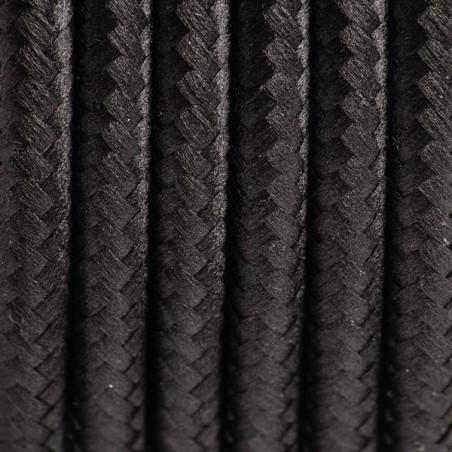 Kabel w oplocie poliestrowym 15 czarny tulipan dwużyłowy 2x0.75