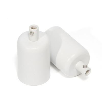 Biała oprawka metalowa E27 lakierowana w kolorze białym strukturalnym z metalową blokadą przewodu Kolorowe Kable
