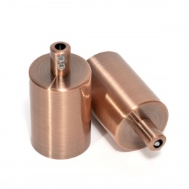 A copper metal E27 lamp holder in brushed copper color with a cable lock in the color of lamp holder Kolor Kable