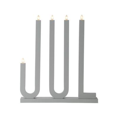 Lampa ŚWIECZNIK JUL 644-15 E10 drewniany, szary STAR TRADING