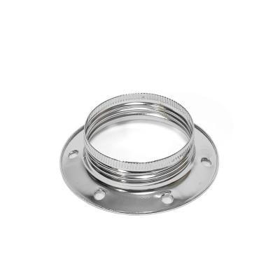 Chromowany metalowy pierścień do oprawki E27 umożliwiający montaż klosza lub abażuru Kolorowe Kable