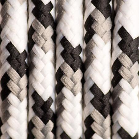 Czarno szaro biały kabel w oplocie poliestrowym 18 brzozowa kora dwużyłowy 2x0.75 Kolorowe Kable