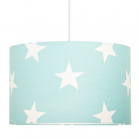 White Stars on Turquoise Lampshade Ø40cm