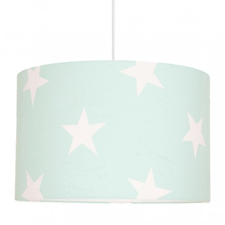 White Stars on Mint Lampshade Ø40cm