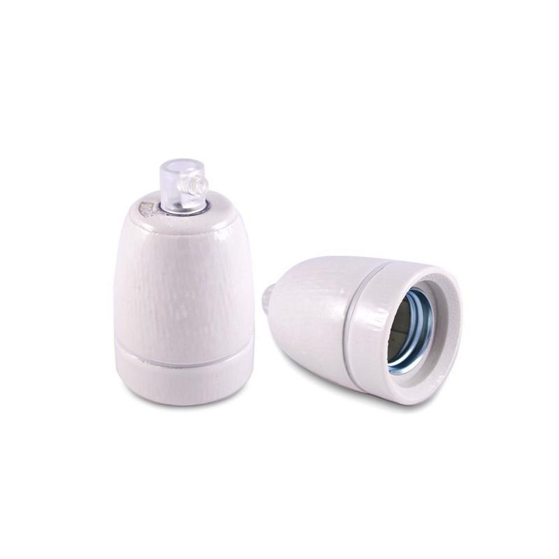 Ceramic lamp holder white workshop style E27