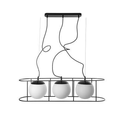 Duża potrójna sufitowa lampa wisząca KUGLO D czarny stelaż i białe szklane klosze UMMO