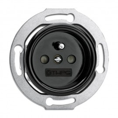 Rustic Bakelite Flush Mount Schuko Ground Socket Retro Style - Black No Frame THPG