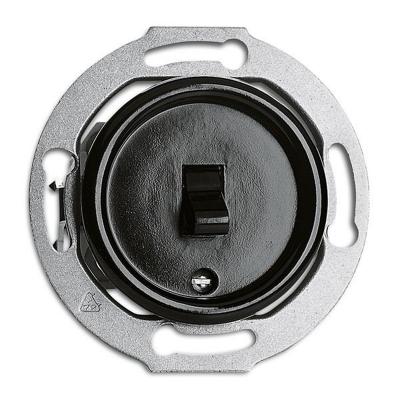 Rustykalny bakelitowy podtynkowy wyłącznik pojedynczy / schodowy dźwigniowy w stylu retro - czarny bez ramki 173043 THPG