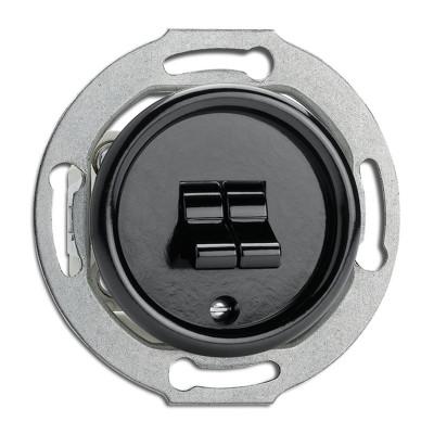 Rustykalny bakelitowy podtynkowy wyłącznik podwójny dźwigniowy w stylu retro - czarny bez ramki 100571 THPG