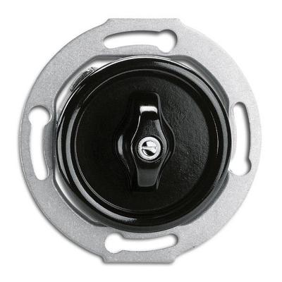 Rustykalny bakelitowy podtynkowy wyłącznik podwójny obrotowy w stylu retro - czarny bez ramki 186882 THPG