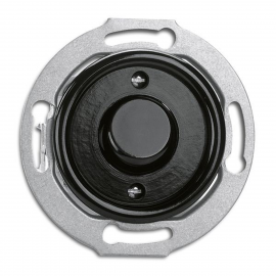 """Rustykalny bakelitowy podtynkowy przycisk chwilowy """"światło""""  w stylu retro - czarny bez ramki 173055 THPG"""