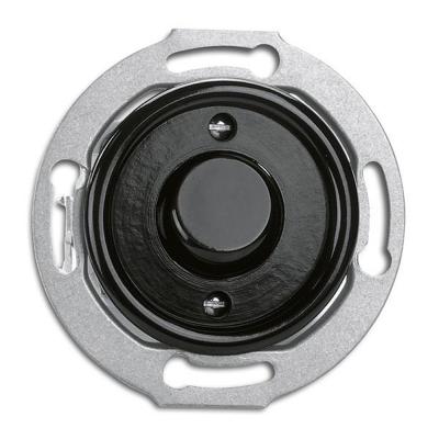 Rustykalny bakelitowy podtynkowy przycisk zwierny, chwilowy, dzwonkowy w stylu retro - czarny bez ramki 173054 THPG