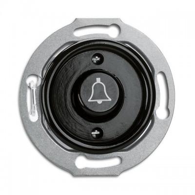 """Rustykalny bakelitowy podtynkowy przycisk """"dzwonek""""  w stylu retro - czarny bez ramki 173056 THPG"""