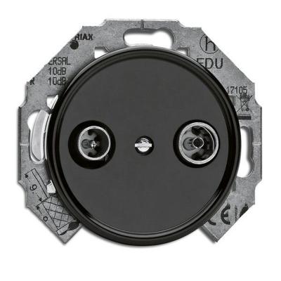 Rustykalne bakelitowe podtynkowe gniazdo antenowe RTV przelotowe  w stylu retro - czarny bez ramki 100723 THPG