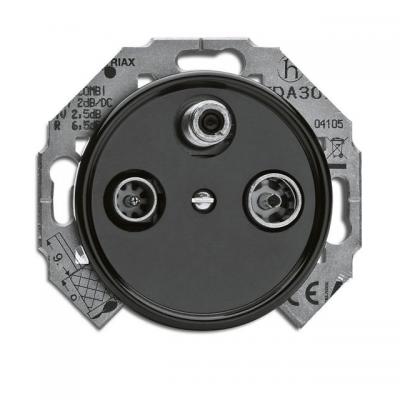 Rustykalne bakelitowe podtynkowe gniazdoantenowe RTV-SAT końcowe w stylu retro - czarny bez ramki 100724  THPG