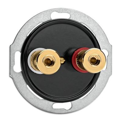 Rustykalne bakelitowe podtynkowe gniazdo głośnikowe WBT w stylu retro - czarny bez ramki 100737 THPG