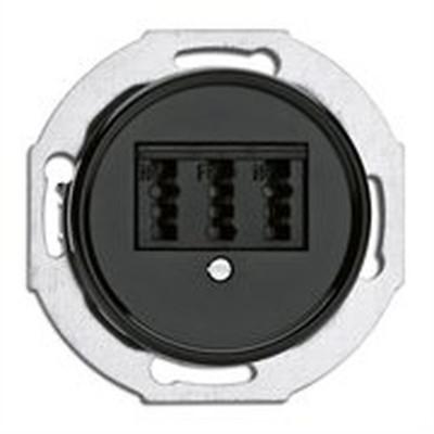 Rustykalne bakelitowe podtynkowe gniazdo telefoniczne w stylu retro - czarny bez ramki 100721 THPG