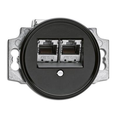 Rustykalne bakelitowe podtynkowe gniazdo telefoniczne w stylu retro - czarny bez ramki 100722 THPG
