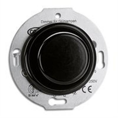 Rustykalny bakelitowy podtynkowy ściemniacz 60-600W do żarówek oraz halogenów 230V w stylu retro czarny bez ramki 173058 THPG