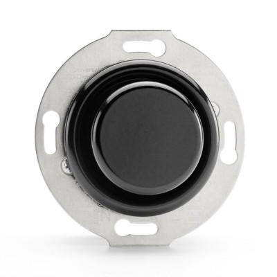 Rustykalny bakelitowy podtynkowy ściemniacz obrotowy uniwersalny LED 3-80W w stylu retro czarny bez ramki 100410 THPG