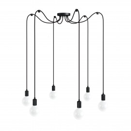 Black spider lamp Loft multi metal line X6 pendant lamp Kolorowe Kable