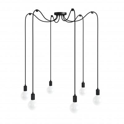 Czarna lampa pająk Loft multi metal line X6 lampa wisząca KOLOROWE KABLE