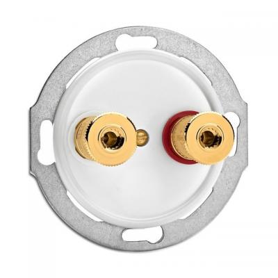 Rustykalne porcelanowe podtynkowe gniazdo głośnikowe WBT w stylu retro - białe bez ramki 100741 THPG