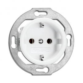 Rustic Porcelain Flush-mounted Schuko Ground Socket Retro Style - White No Frame 173067 THPG