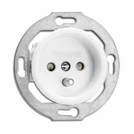 Rustic porcelain retro style flush-mounted socket outlet - white without frame 175835 THPG