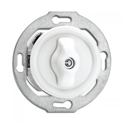 Rustykalny porcelanowy podtynkowy wyłącznik pojedynczy / schodowy obrotowy w stylu retro - biały bez ramki 186880 THPG